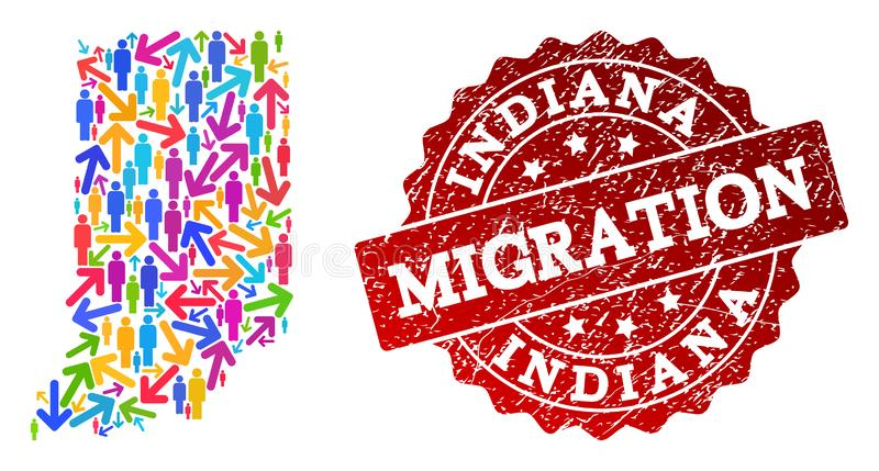 Migration Collage of Mosaic Map of Indiana State and Textured Seal stock illustration