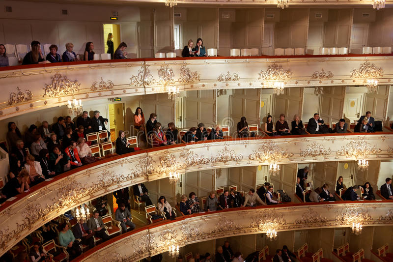 People in Mikhailovsky theater during closing ceremony of Cultural Forum royalty free stock image