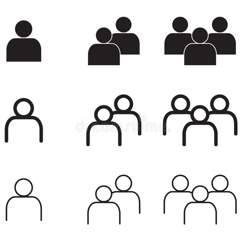 People in minimal style Icons vector Eps10 set royalty free stock image