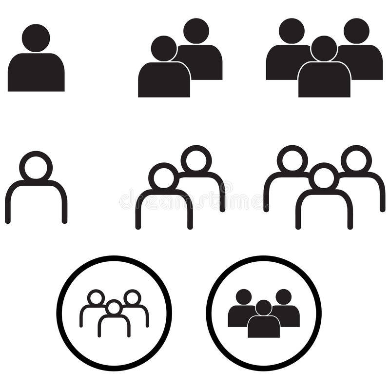 People In Minimal Style Icons Vector Eps10 Set Stock
