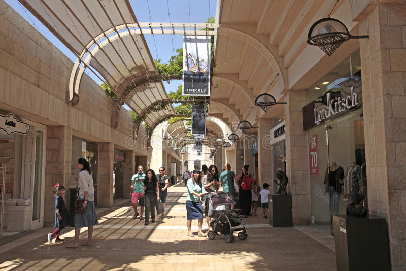 People at modern Mamilla shopping mall in Jerusalem, Israel. stock photography