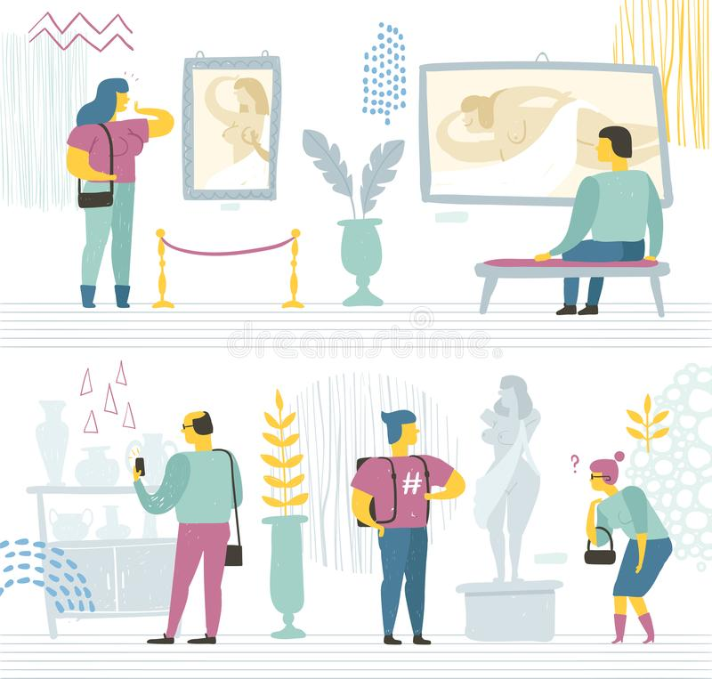 People in the modern museum look at paintings, sculptures, and various exhibits. Vector illustration royalty free illustration