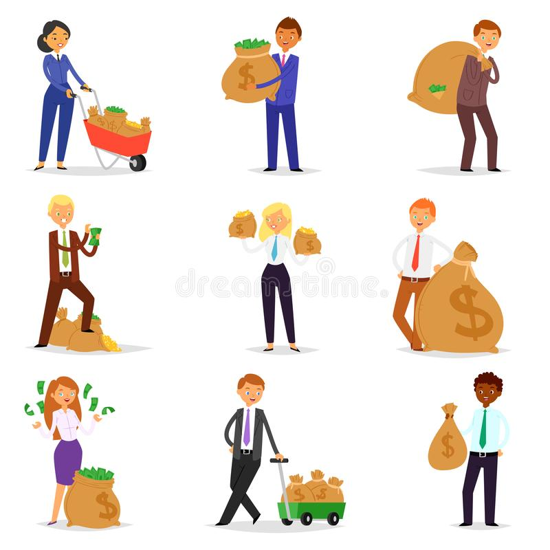 People money vector wealth businessman woman person character holding bag with coins cash currency illustration banking royalty free illustration