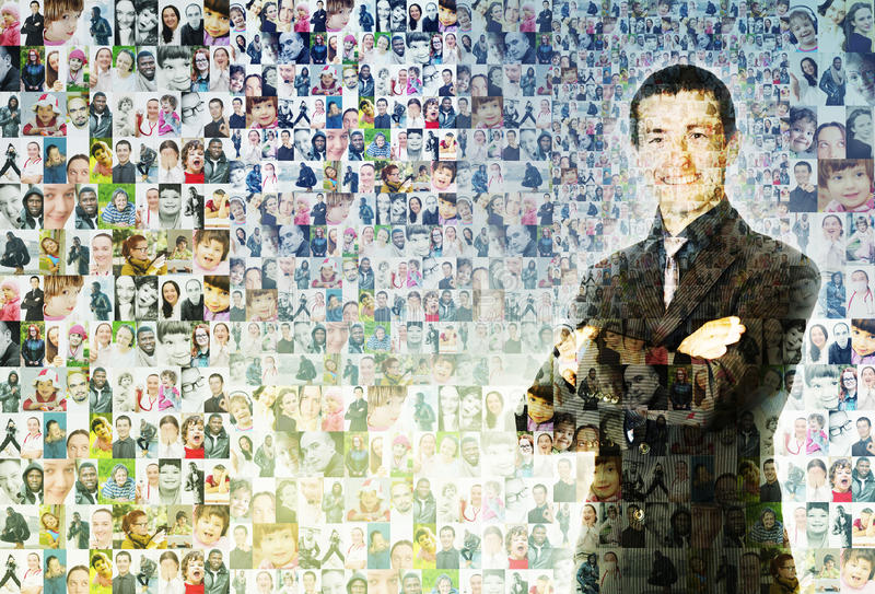 People mosaic. Digital mosaic of lots of small images of different happy people comprising a handsome young business man smiling