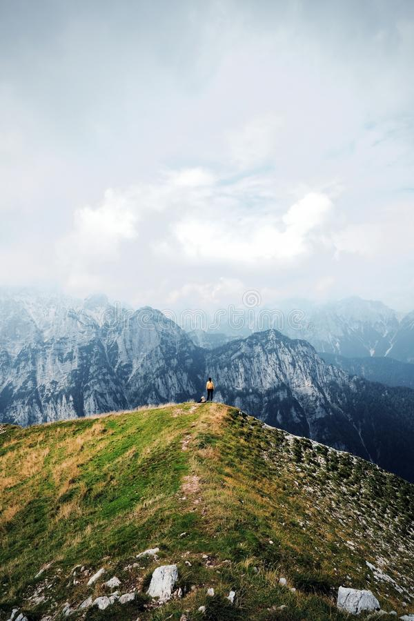People in mountains, background alps royalty free stock photos