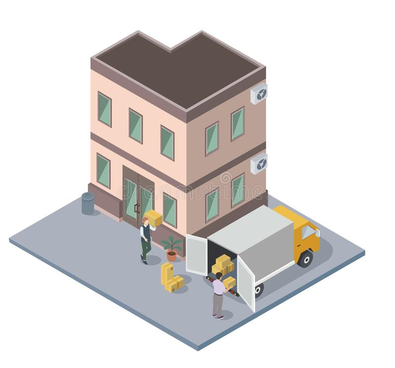 People moving and loading packed boxes, house hunt, flat vector isometric. Illustration vector illustration