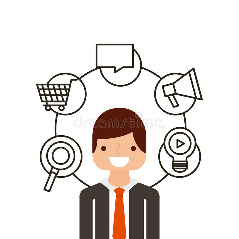 People and multimedia design. Businessman with multimedia icons around him over white background. colorful design. illustration royalty free illustration