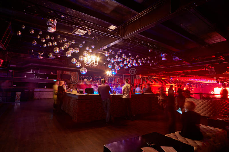 People at musical party in club Arma Music Hall stock image