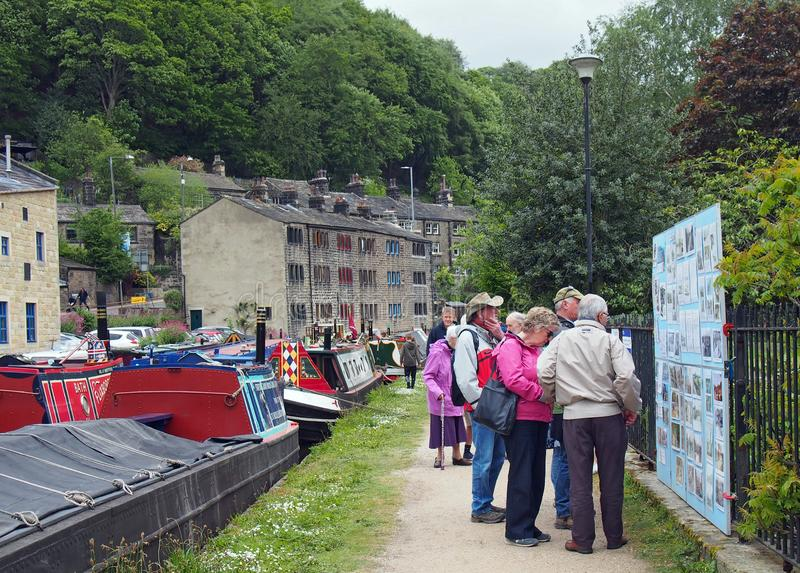 People at the narrow boats club gathering held on the may bank holiday on the rochdale canal at hebden bridge in west yorkshire. Hebden bridge, west yorkshire stock photo