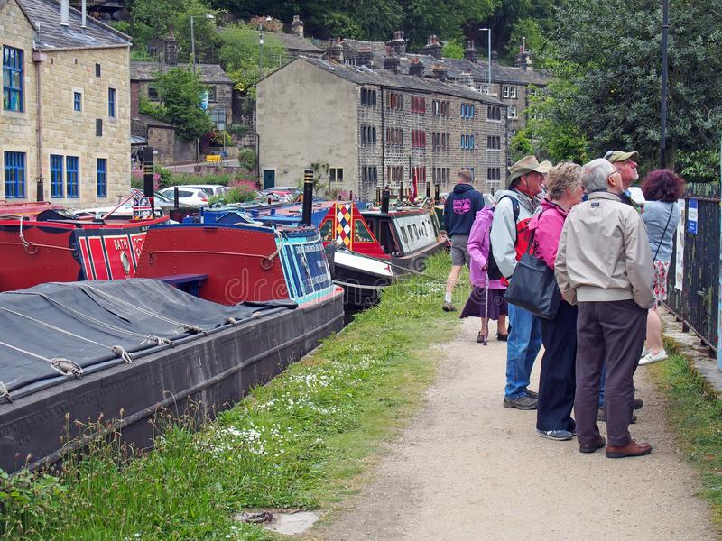 People at the narrow boats club gathering held on the may bank holiday on the rochdale canal at hebden bridge in west yorkshire. Hebden bridge, west yorkshire stock photography