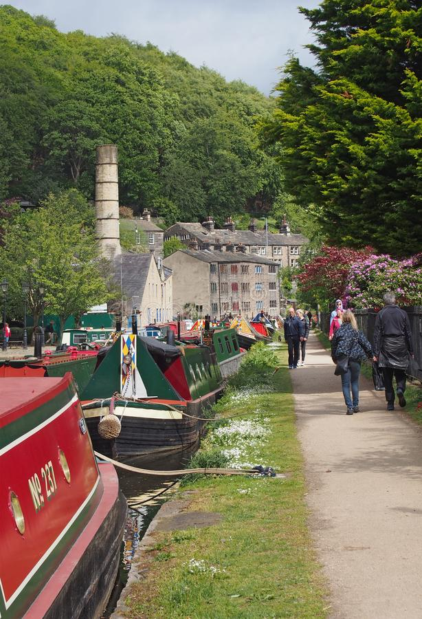 People at the narrow boats club gathering held on the may bank holiday on the rochdale canal at hebden bridge in west yorkshire. Hebden bridge, west yorkshire stock image