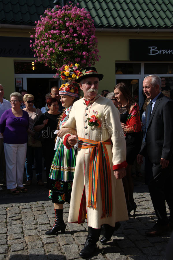 People in national costumes. Feast flowers fruit and vegetables - Skierniewice Poland royalty free stock photos