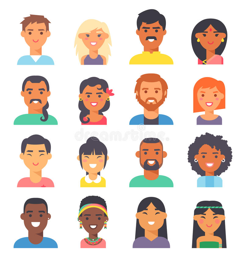 People nationality race vector illustration. Group people nationality race at work teamwork avatars. Flat design characters people nationality race. Set diverse royalty free illustration
