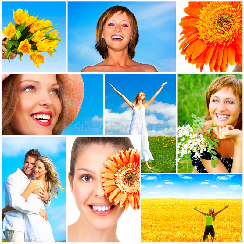 People and nature. Women, healthy lifestyle, ecology, nature, flowers, blue sky