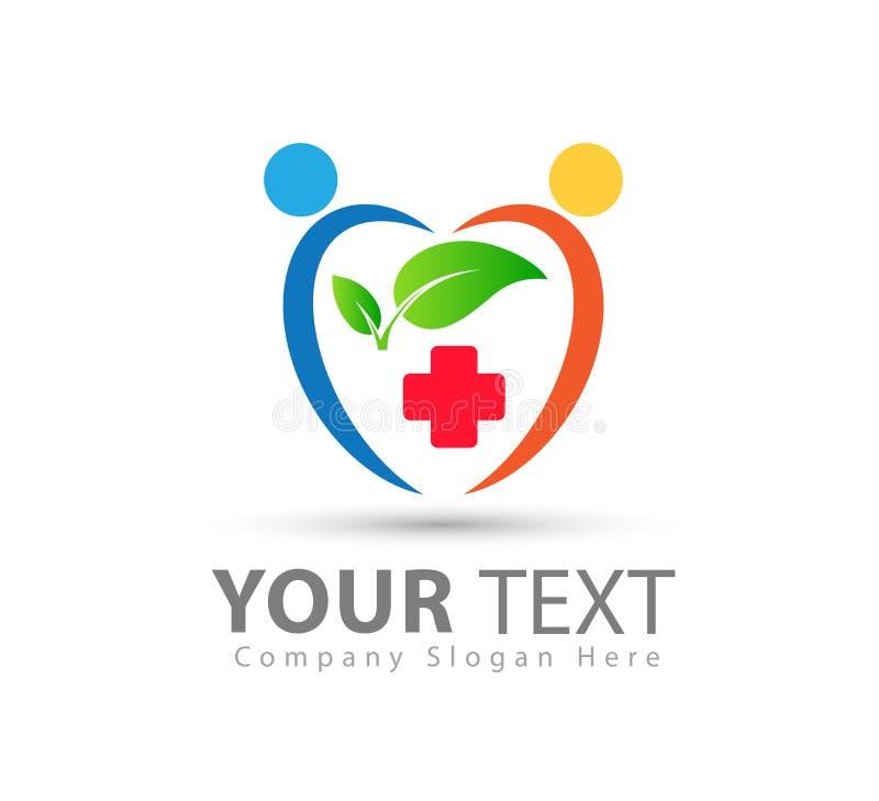 People nature health care medical cross nature leaf logo icon on white background. stock illustration