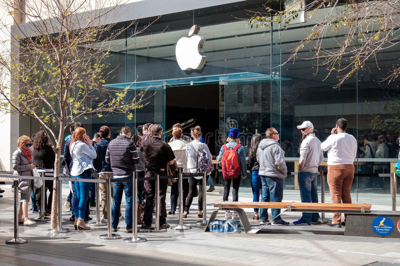 People near Apple Store in Adelade royalty free stock images