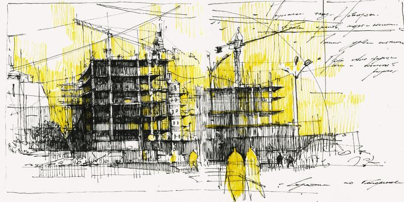People near construction site hand drawn illustration. Building crane near uncompleted houses black ink sketch on yellow background. Passersby walking in new stock illustration