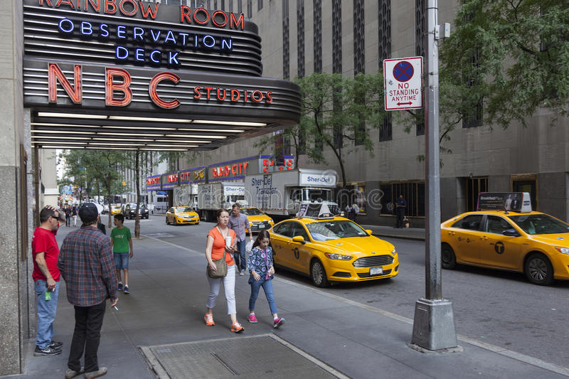 People near entrance of nbc rainbow room in new york city royalty free stock image
