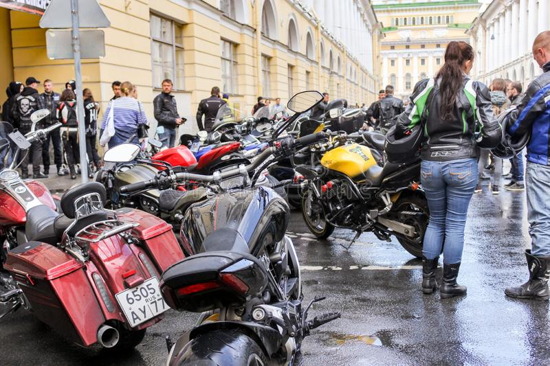 People near motorcycles royalty free stock image