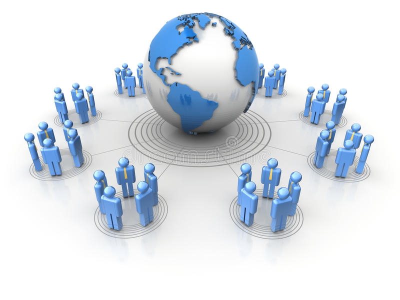 People network. Conceptual network of people surrounding Earth globe vector illustration