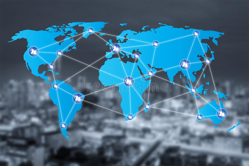 People network connection icons with World map connection. And blur city. Network work connections concept royalty free stock image