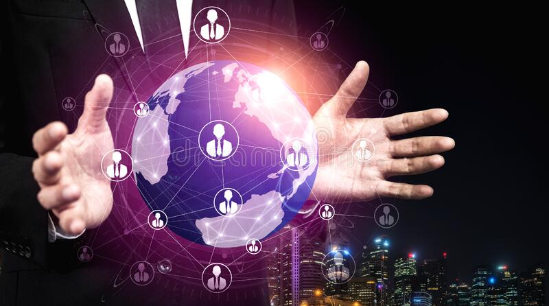 People network and global communication concept. Business people with modern graphic interface of community linking many people around world by social media stock photography