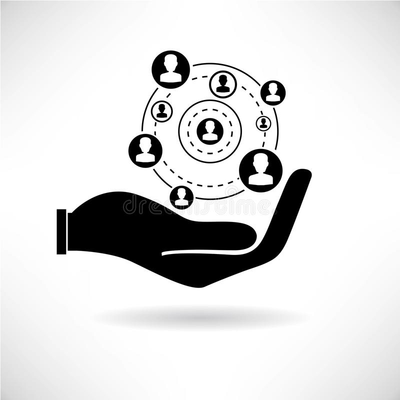 People network. Hand holding people network, people management vector illustration
