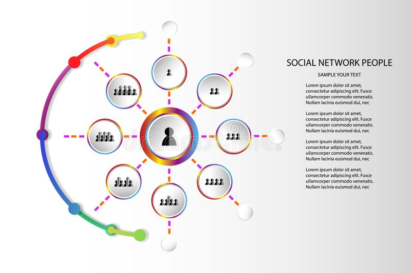 People network icon concept marketing communicate technology Vector illustration on white background with copy space add text stock illustration