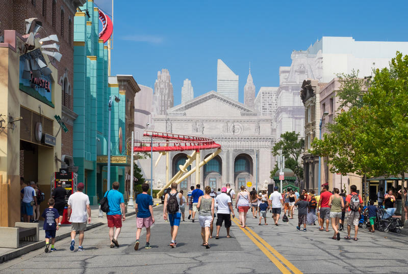 People at the New York area in Universal Studios Florida stock photo