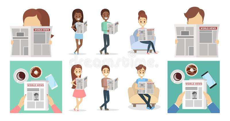 People with newspapers. People with newspapers reading and holding set stock illustration