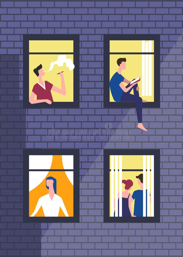 People in night windows in daily routine. Vector man or boy smoking and looking in window royalty free illustration