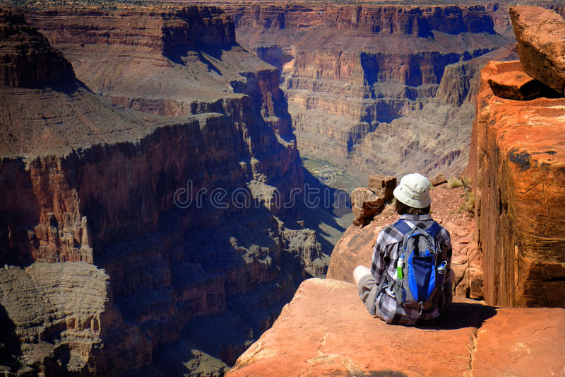 People at the North Rim of Grand Canyon Gorge stock images