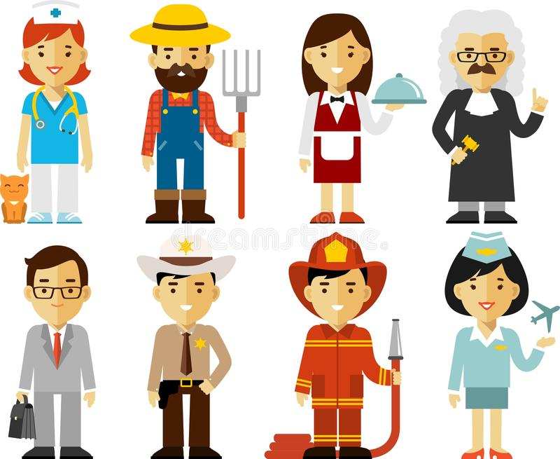 People Occupation Characters Set In Flat Style Stock #0: people occupation characters set flat style different professions