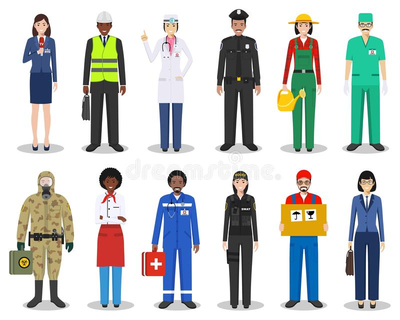 People occupation characters set in flat style isolated on white background. Different men and women professions. People occupation characters set in flat style stock illustration