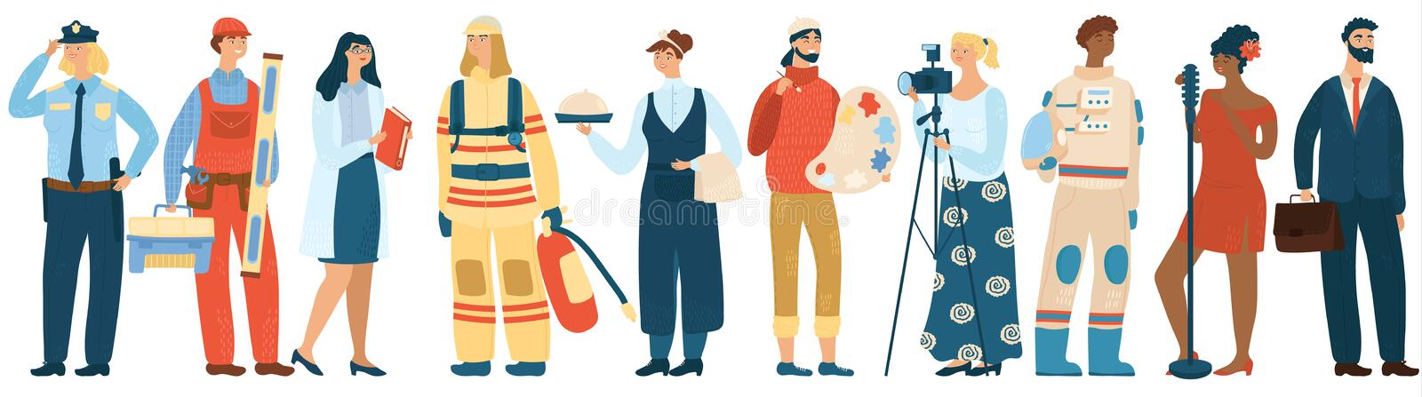 People occupation vector professional man and woman in uniform of firefighter, police officer and astronaut. Workers of royalty free stock image