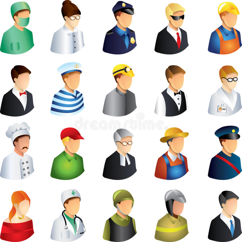 People occupations icons set stock illustration