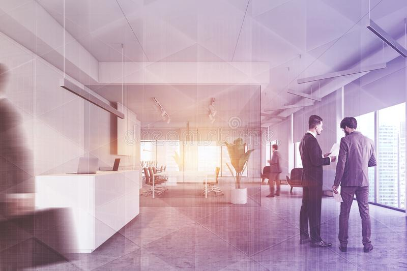 People in office hall, reception and meeting room stock photography