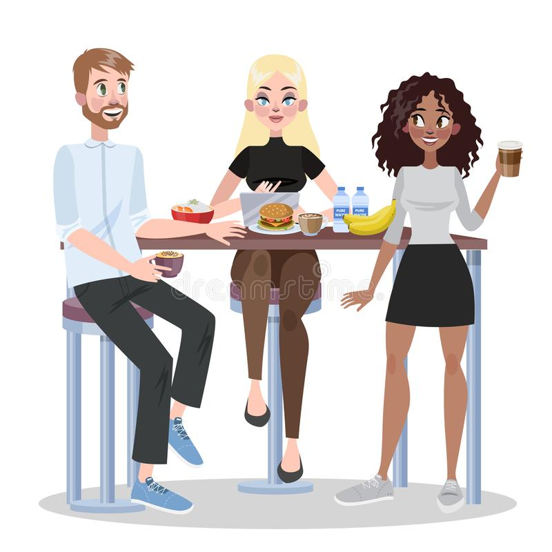 People in office have lunch together. Group of worker royalty free illustration