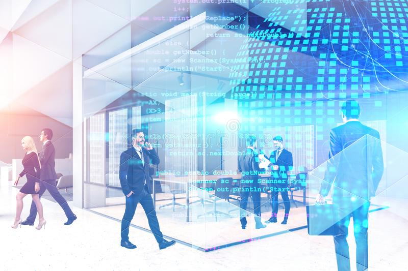 People in office, planet and code. Diverse business people working together in office with double exposure of planet hologram and lines of code. Concept of hi stock images