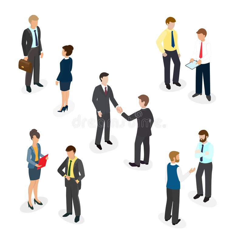 People in the office shaking hands, chatting, talks, business communication. Isometric illustration EPS 10 stock illustration