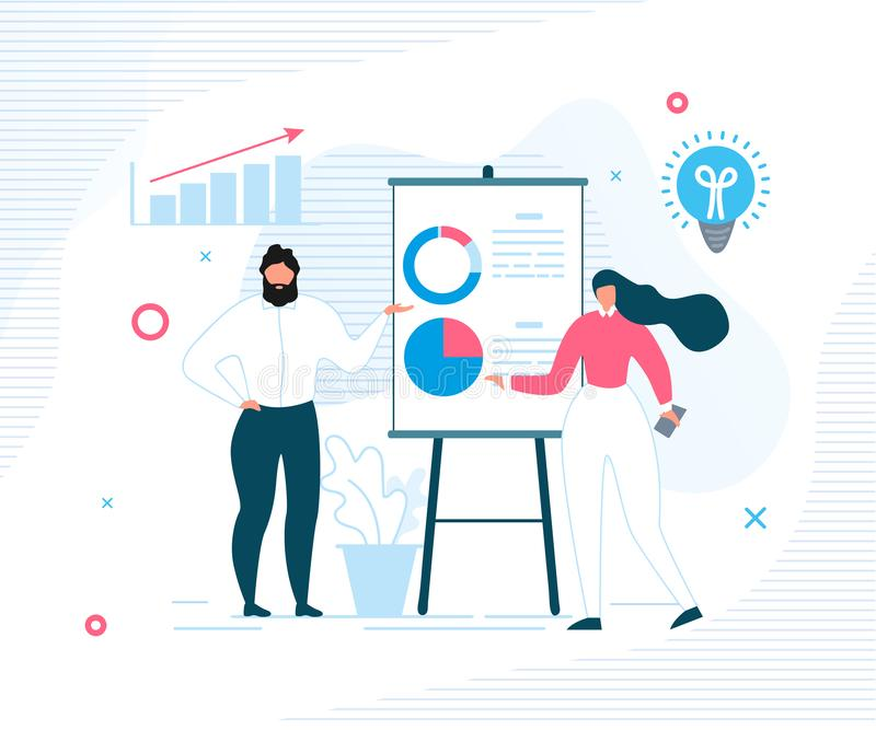 People Office Worker Report Showing Statistics royalty free illustration
