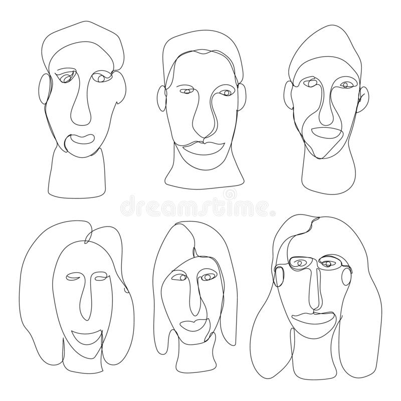 People in one thin line minimalistic style. Continuous one line drawing. Happy business people. Success icon symbol stock photography