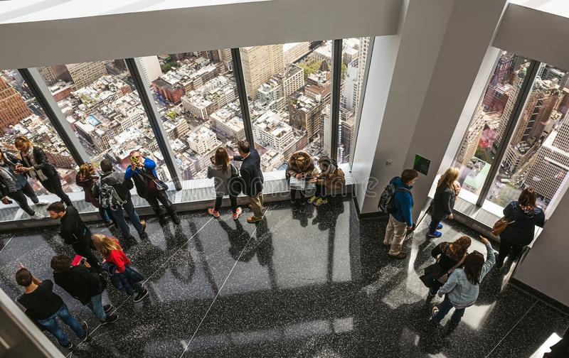 People in One World Observatory in New York City royalty free stock photo