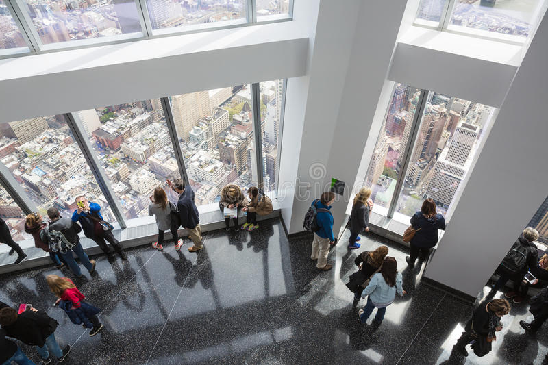 People in One World Observatory in New York City. NEW YORK, USA - Apr 28, 2016: People in One World Observatory. This observation deck is located at the top of