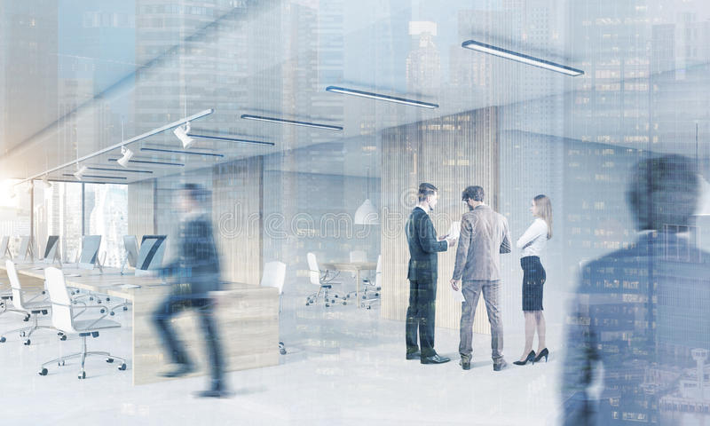 Download People In Open Office With Meeting Room, Cityscape Stock Illustration - Image: 83722273