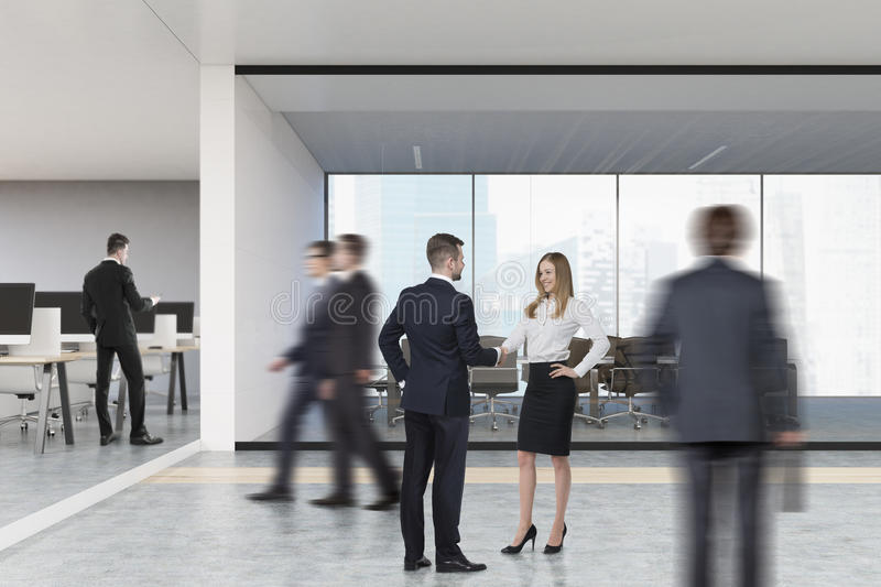 Download People In Open Office With Meeting Room Stock Illustration - Image: 83722251