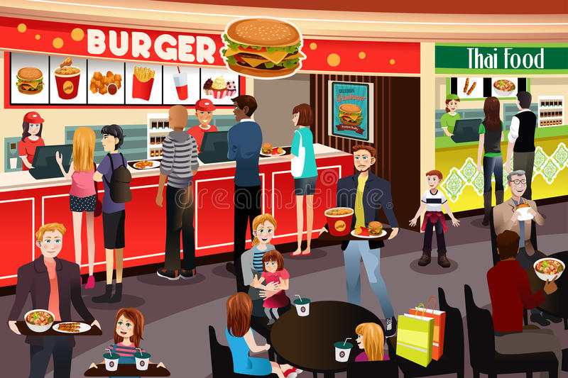 People Ordering Food in Food Court vector illustration