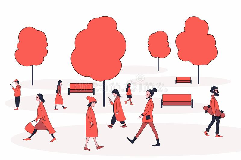 Walking people in outerwear. vector illustration