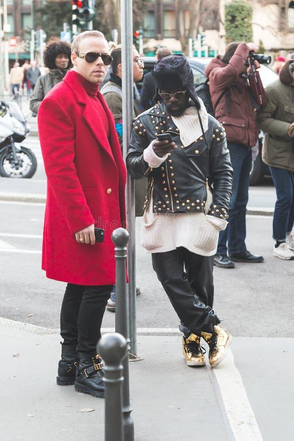 People outside Jil Sander fashion show building for Milan Men's stock images