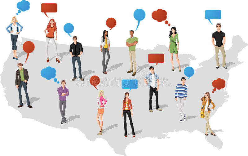 People Over United States Of America Map Stock Photo